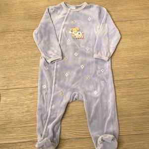 Little Me Velour Footed Bodysuit